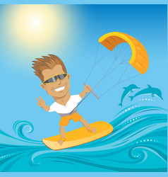 Kitesurfing on ocean vector