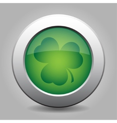 Metal button with the dark green shamrock vector