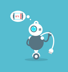 Modern robot low battery charge message artificial vector