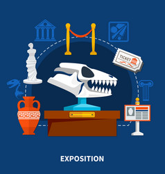 museum exposition flat set vector image
