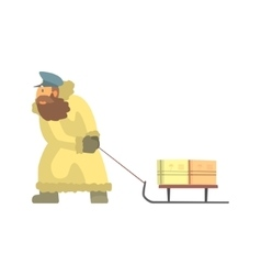 Nothern postman in fur coat dragging sled with vector
