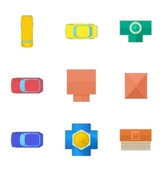Roof of cars icons set cartoon style vector image