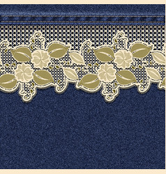 seamless horizontal denim background with lace vector image
