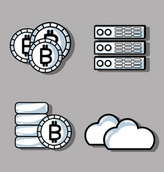 Set blockchain security technology with data vector