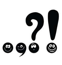Set of funny smiley punctuation vector