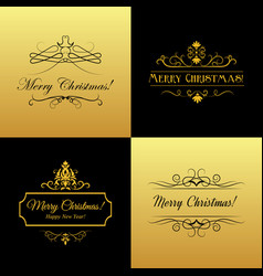 Set of marry christmas and happy new year cards vector