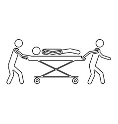 silhouette pictogram paramedics with patient in vector image