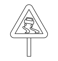 Slippery road icon outline style vector image vector image