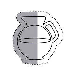 Sticker silhouette glass jar of coffee with handle vector