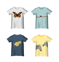 T Shirt Template with different prints variation 2 vector image