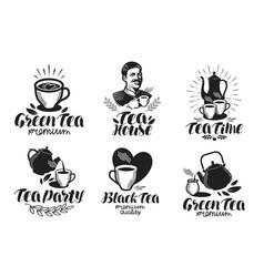 Tea label set drink teapot icon or logo vector