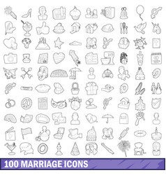 100 marriage icons set outline style vector image vector image