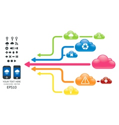 cloud color arrow graph with mobile vector image