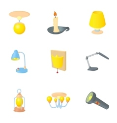 Light for home icons set cartoon style vector