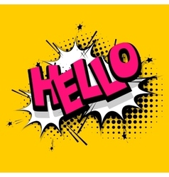 Lettering hello positive label balloon vector image