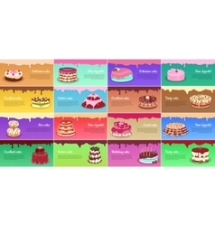 Collection of Chocolate Cakes Greeting Cards vector image