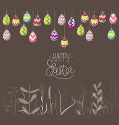 easter eggs hanging on the wire and florals vector image