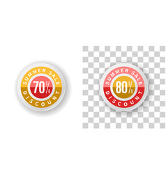 Summer sale sticker 70 and 80 percent discount vector