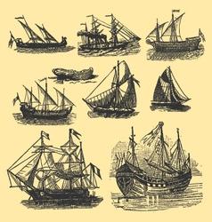 Vintage hand drawn vintage ships vector