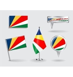 Set of seychelles pin icon and map pointer flags vector
