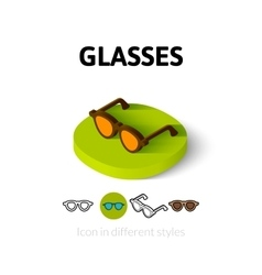 Glasses icon in different style vector
