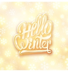 Hello winter golden typography label greeting vector