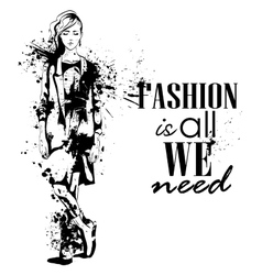Fashion look girl with splashes vector