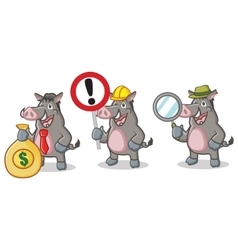 Gray wild pig mascot with sign vector