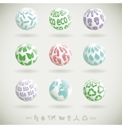 Eco planet icons vector image
