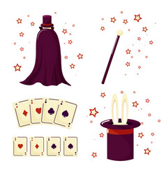 a set of the magician rabbit cards vector image