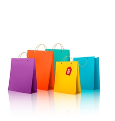 Background with colorful shopping bags Discount vector image
