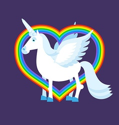 Blue unicorn rainbow heart rainbow lgbt sign vector