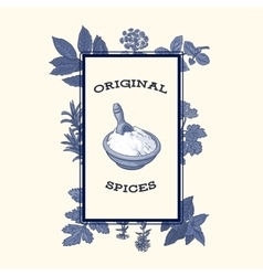 Bowl of flour framed by spices and herbs poster vector image vector image