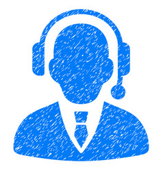 Call center operator grunge icon vector