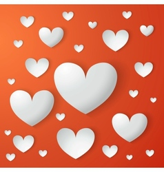 card of Valentines day with paper hearts vector image