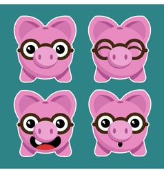 Cartoon piggy banks with eyeglasses vector