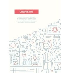 Chemistry - line design brochure poster template vector