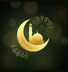 Crescent moon with mosque for islamic festival vector