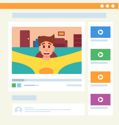 cute man video blogging in web interface vector image