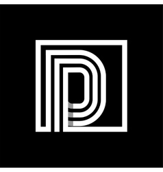 D capital letter made of stripes enclosed in a vector