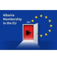 European union flag wall with albania flag door vector
