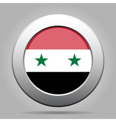 Flag of Syria Shiny metal gray round button vector image