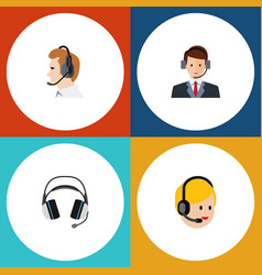Flat icon call set of earphone telemarketing vector