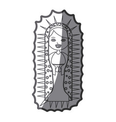Grayscale silhouette of canvas of pretty virgin of vector