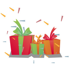holiday present colored gift boxes vector image vector image