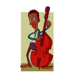 man playing contrabass vector image