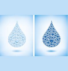 many water drops creating big drop vector image vector image