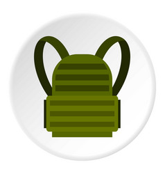 Military backpack icon circle vector