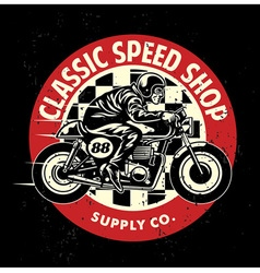 Motorcycle garage badge with the dirty texture vector