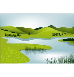 Mountain landscape with river vector image vector image